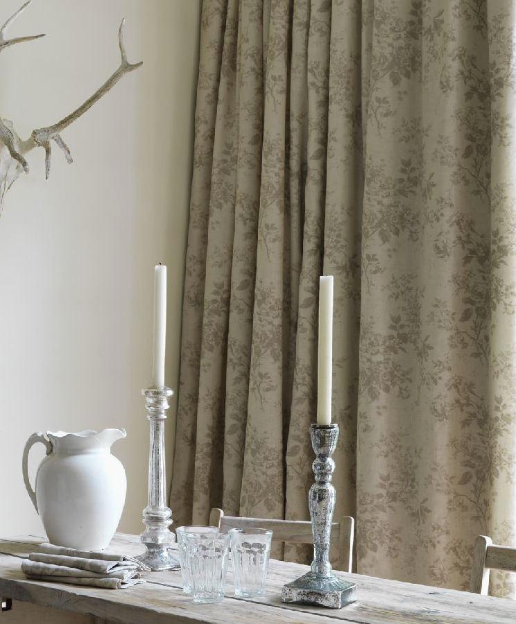 lino flores alderley gris - Cortinas Lino