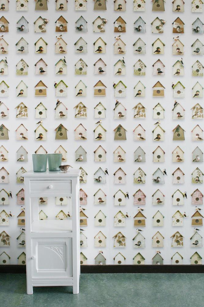 Tienda online telas papel papel pintado casita p jaros for Retales papel pintado