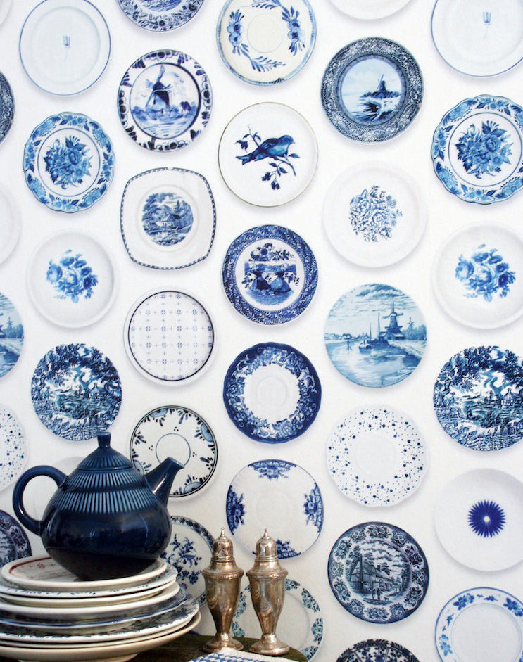 Tienda online telas papel papel pintado porcelana azul for Papel pintado azul