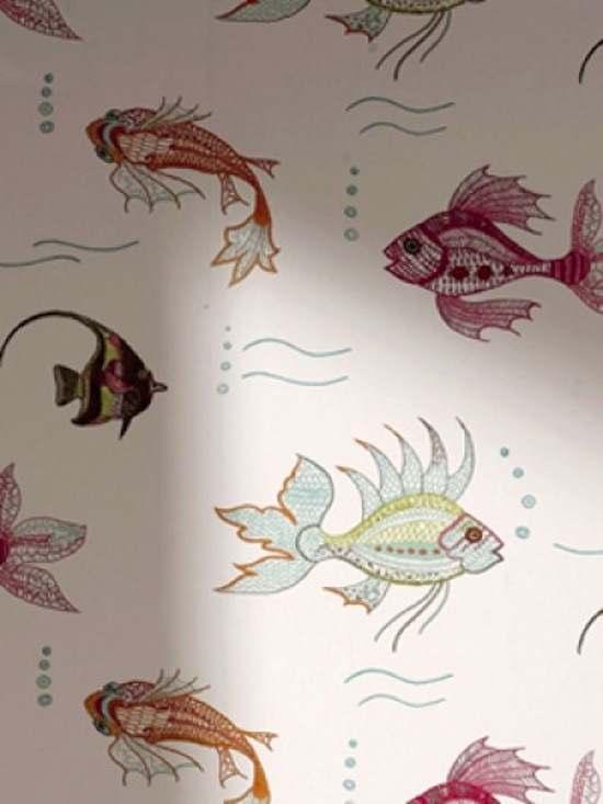 Tienda online telas papel papel pintado con peces de - Papel pared nina ...