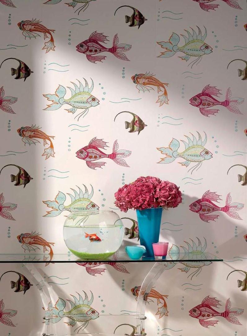 Papel pintado peces neutro telas papel for Papel pintado nina