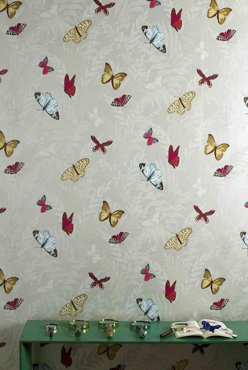 Tienda online telas papel papel pintado de mariposas for Papel pintado nina