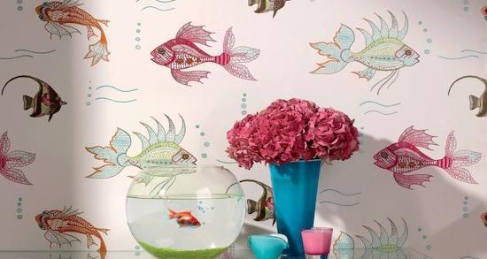 Tienda online telas papel papel pintado con peces de for Papel pintado nina