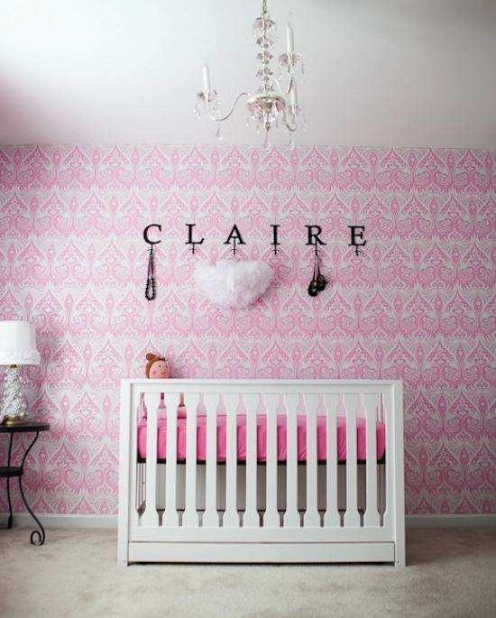 Decorar las paredes de la habitaci n del bebe con papel - Papel pintado para habitacion nina ...