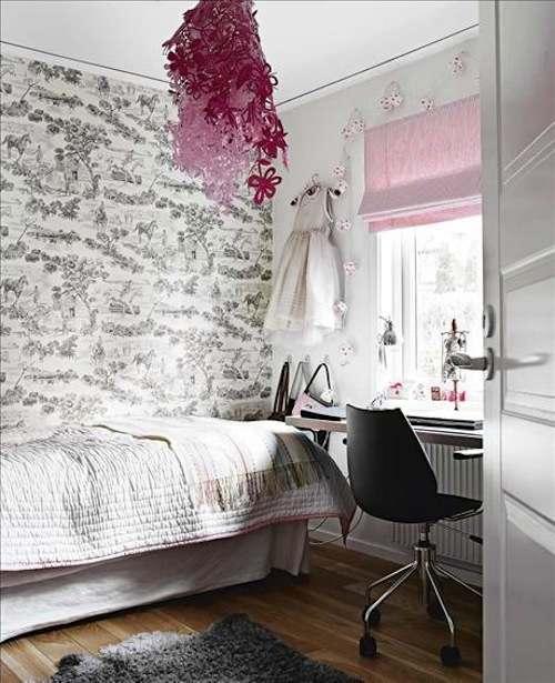 dormitorio juvenil con paredes empapeladas con papel