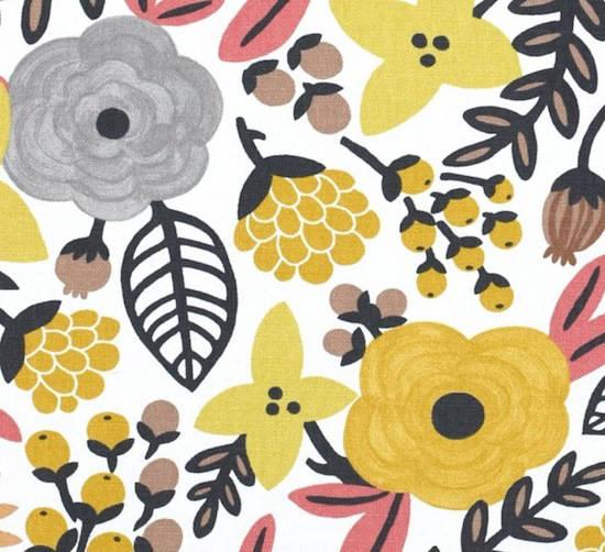 tela con flores color mostaza
