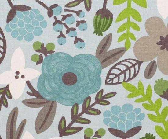 tela con flores en color azulino