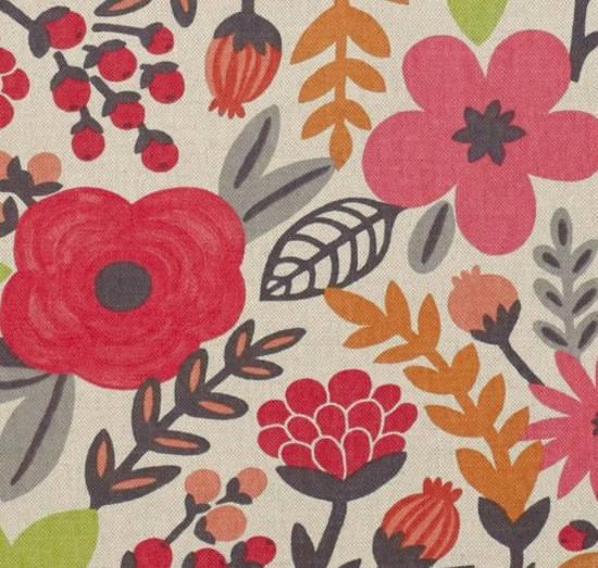 tela con flores en color rojo