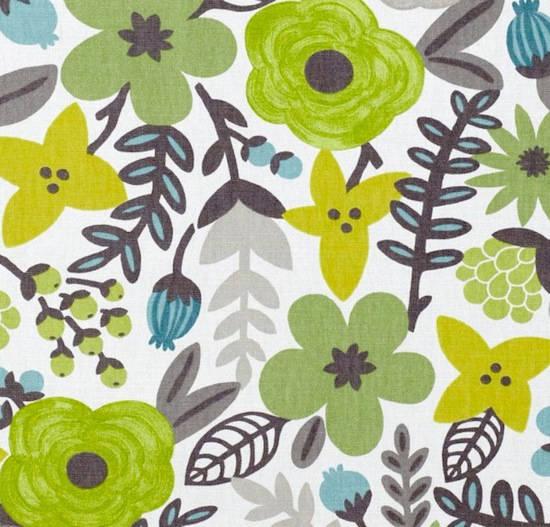 tela con flores en color verde