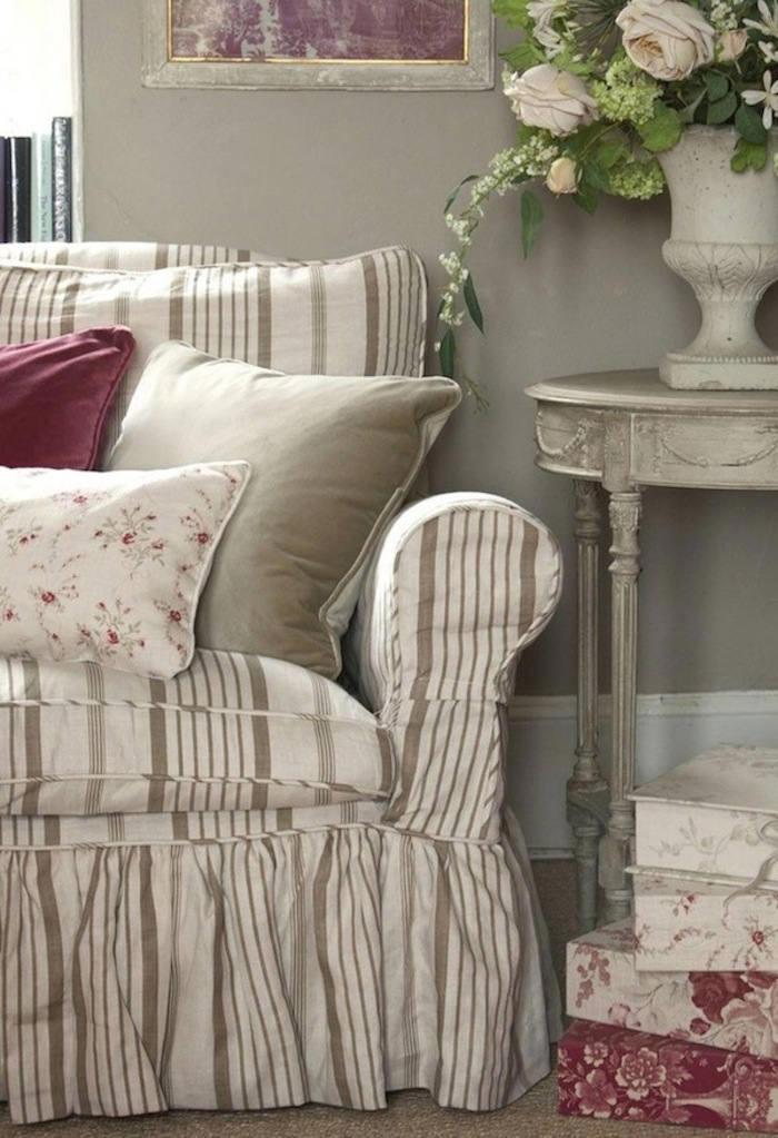 Tienda online telas papel tela de rayas de estilo shabby chic - Telas para sofas ...
