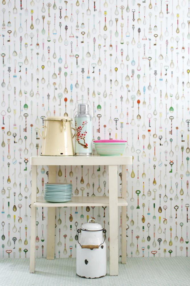 Tienda online telas papel papel pintado cucharitas - Papel pared lavable ...