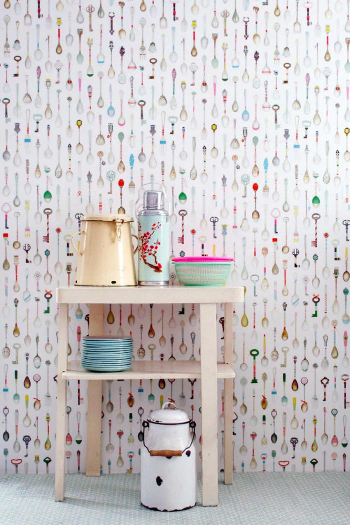 Tienda online telas papel papel pintado teaspoons for Papel pintado cocina ikea