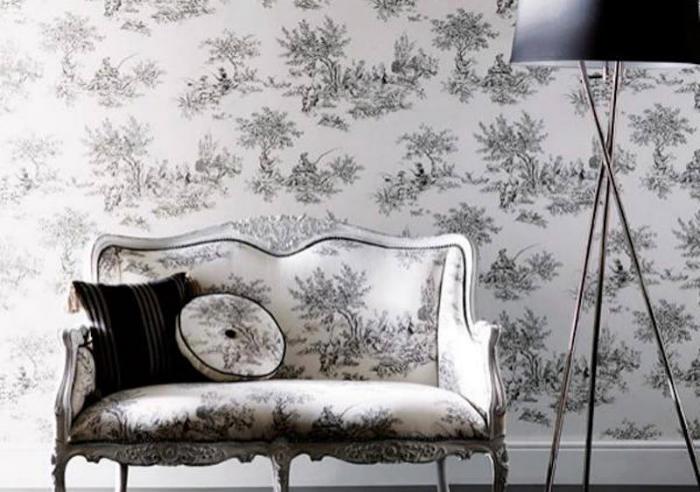 Tienda online telas papel toile de jouy papeles y - Telas para tapizar paredes ...