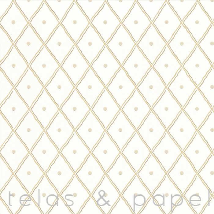 Papel pintado trellis beige telas papel for Papel pintado beige