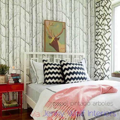 Tienda online telas papel papel pintado arboles blanco for Master interiorismo valencia