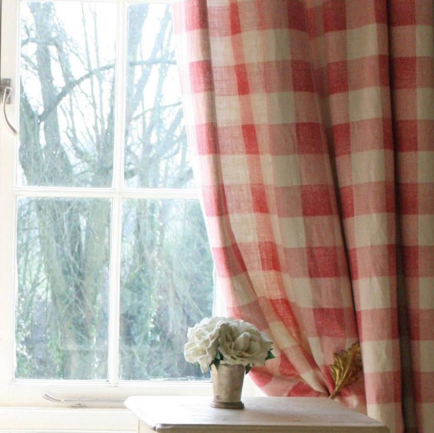 Tienda online telas papel lino cuadros pink - Telas para cortinas juveniles ...