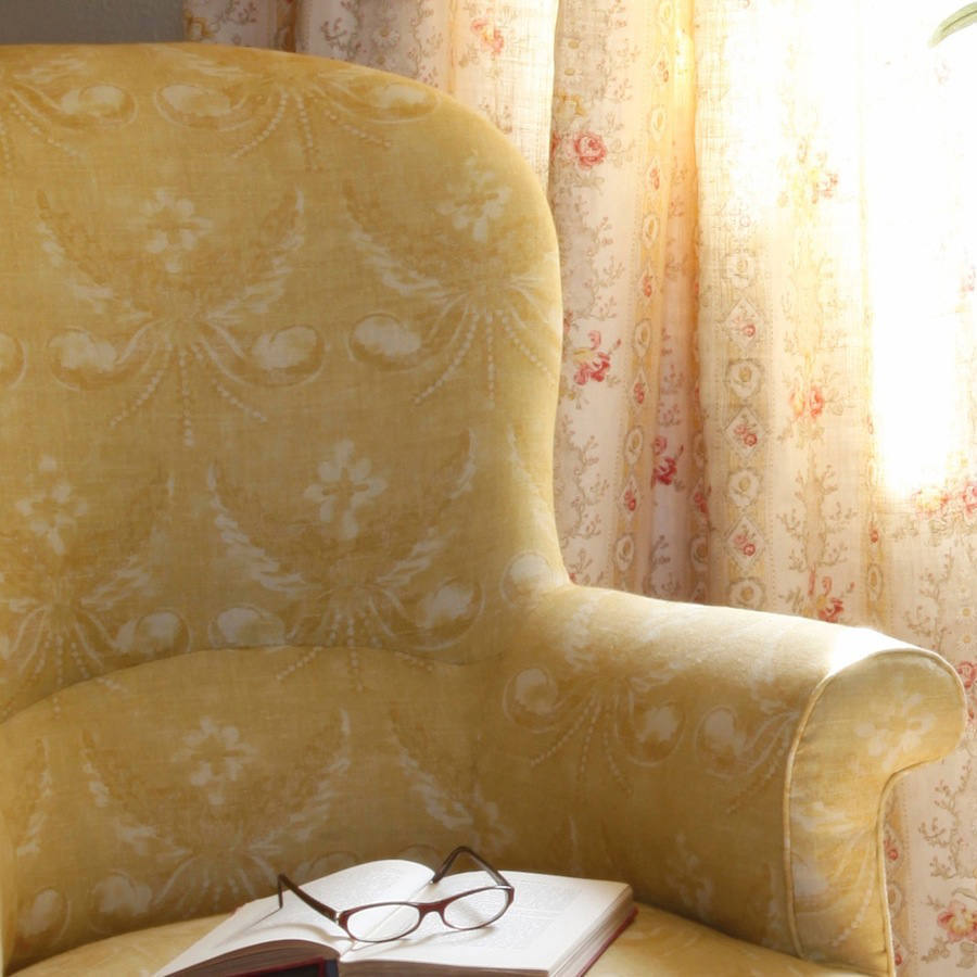 Tienda online telas papel lino josephine yellow - Telas tapizar sillones ...