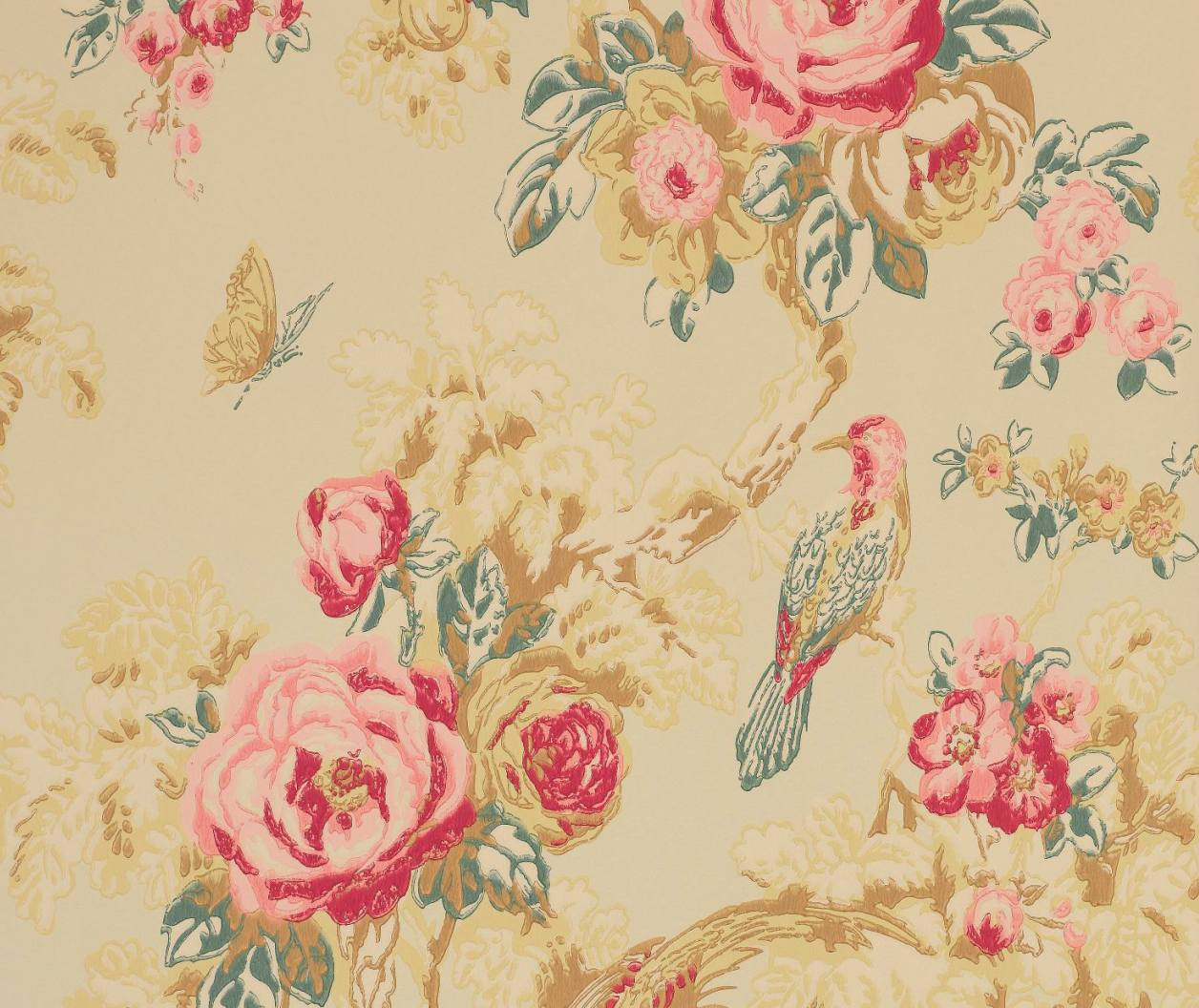 Tienda online telas papel papel pintado arbusto rosas for Papel de rayas para pared