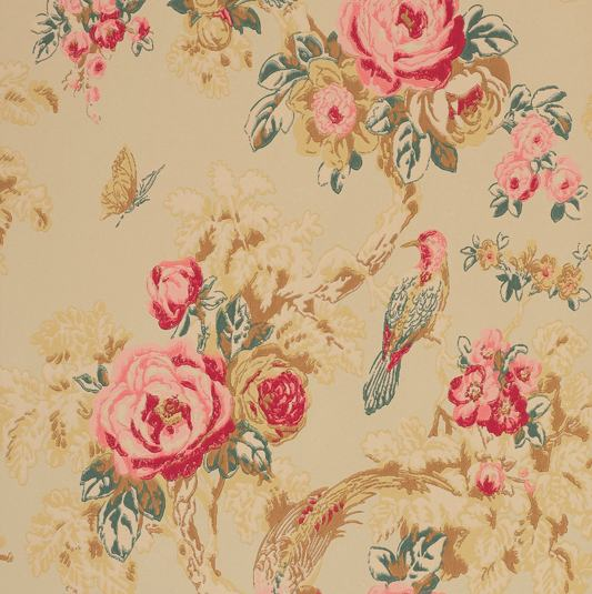 Tienda online telas papel papel pintado arbusto rosas for Papel pintado estampado