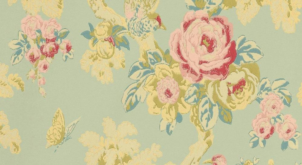 Tienda online telas papel papel pintado arbusto rosas - Papeles pintados lavables ...