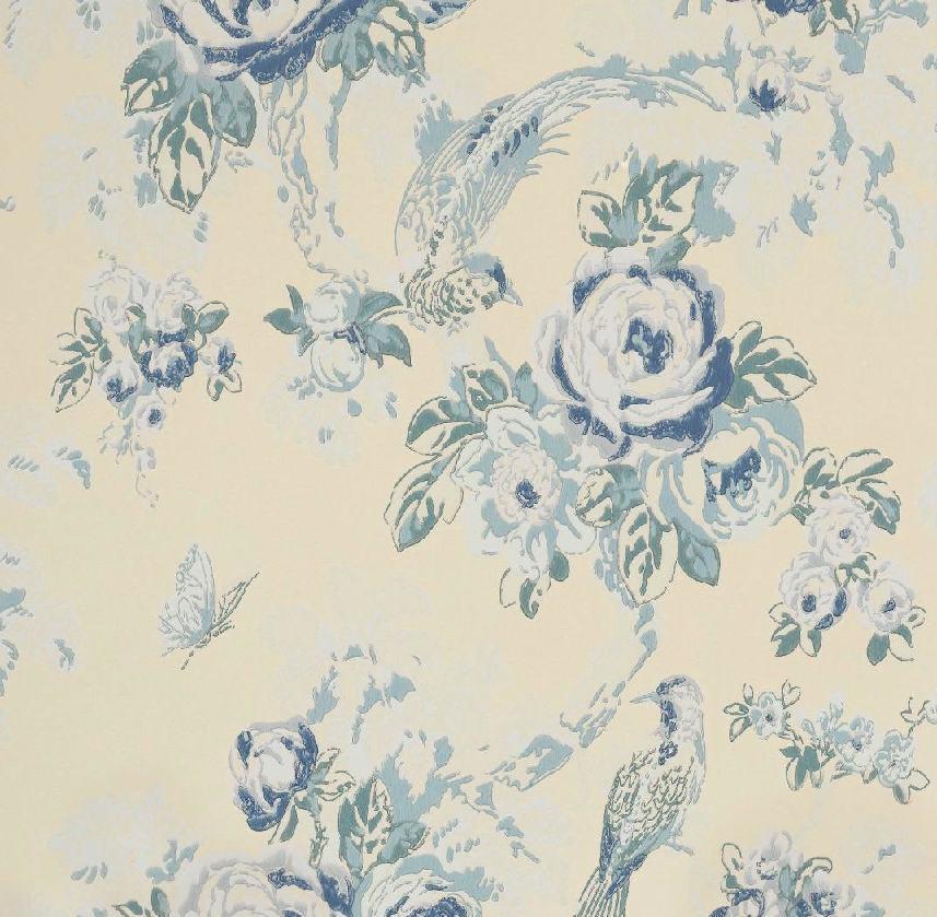 Tienda online telas papel papel pintado arbusto rosas azul for Papel pintado azul