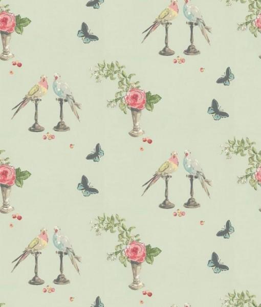 Tienda online telas papel papel pintado perroquet azul - Papel pared nina ...