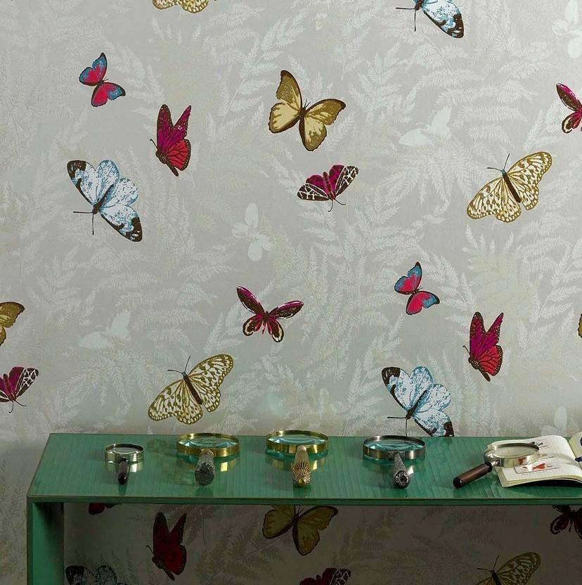 papel pintado mariposas en cuatro colores telas papel