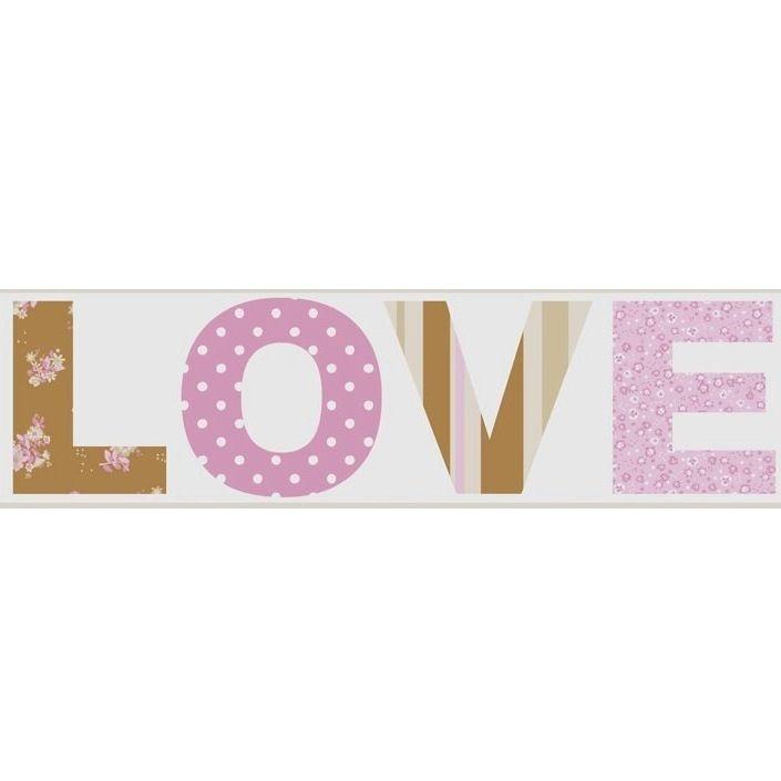 Tienda online telas papel cenefa papel love - Cenefas de papel ...