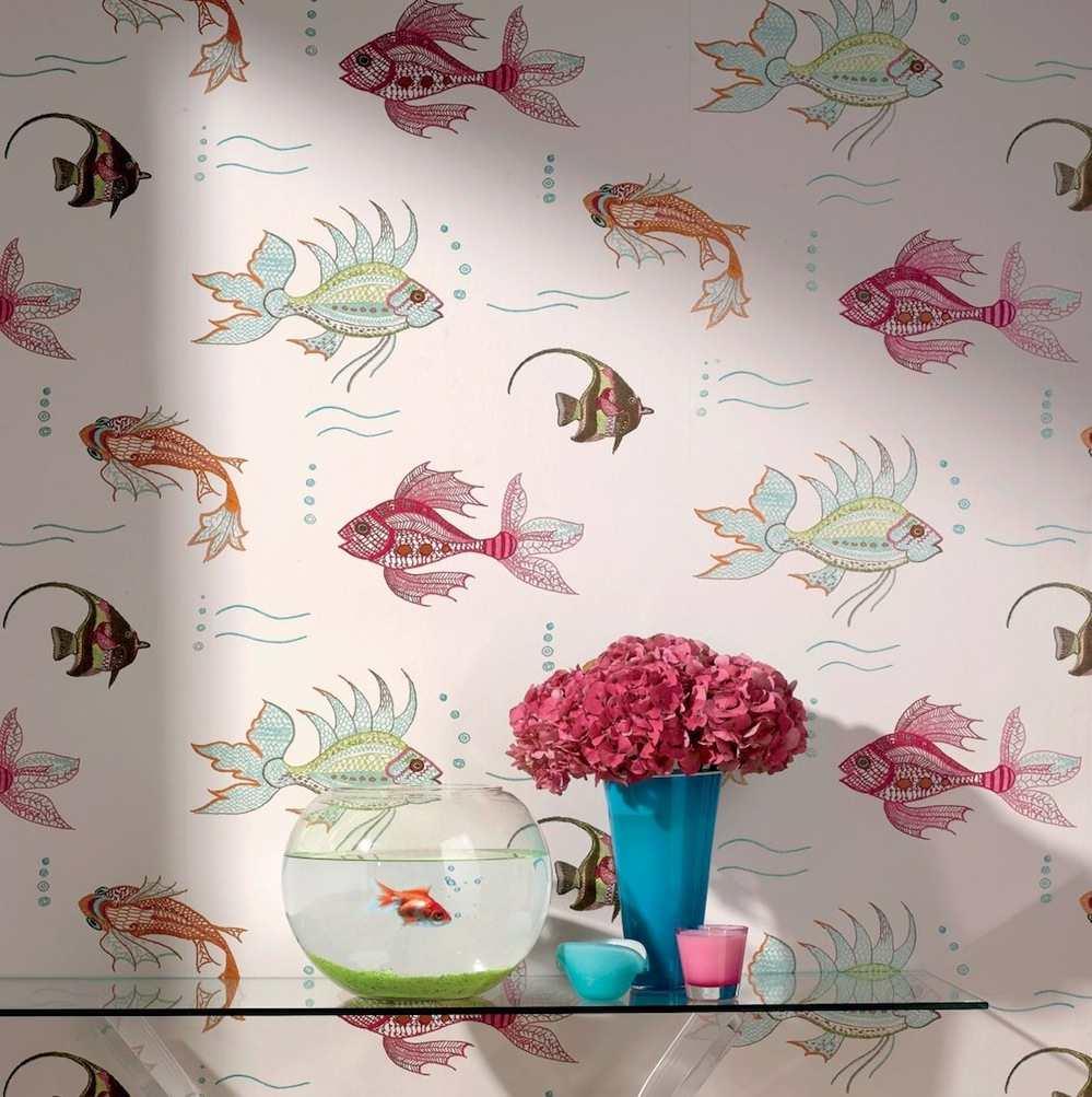 Papel pintado peces neutro telas papel - Tipos de papel pintado ...