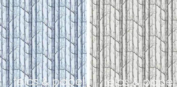 papel pintado arboles en color crema o azul