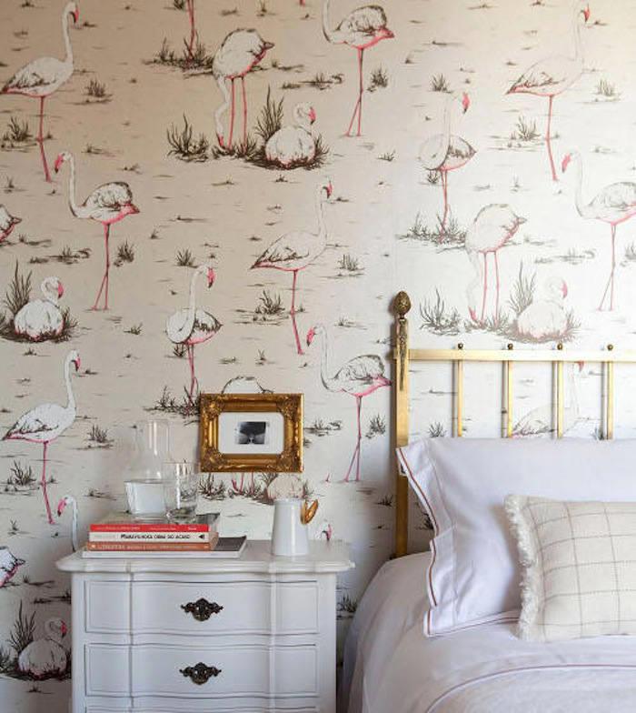 Tienda online telas papel papel pintado retro flamencos for Dormitorios empapelados y pintados