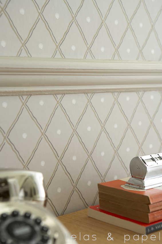 Tienda online telas papel papel pintado con estampado - Papel pintado salon ...