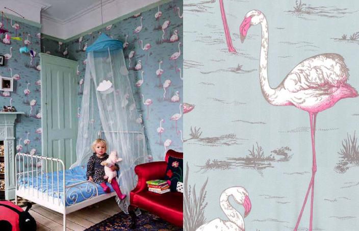Tienda online telas papel papel pintado retro flamencos for Papel pintado para dormitorio juvenil