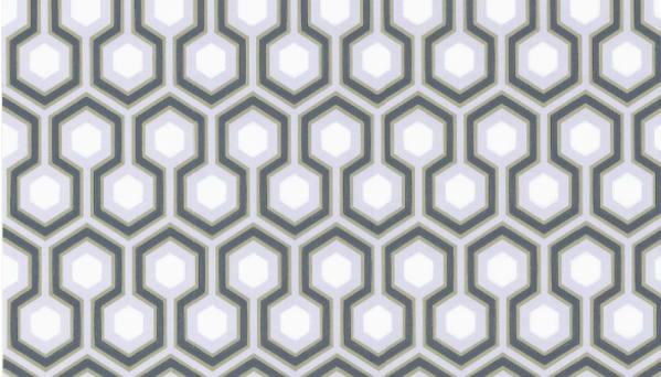 Tienda online telas papel papel pintado hexagons hicks for Papel pintado blanco y dorado