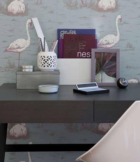 Tienda online telas papel papel pintado flamencos azul for Papel pintado flamencos