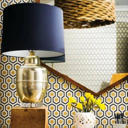 Tienda online telas papel papel pintado hexagons dorado for Papel pintado dorado