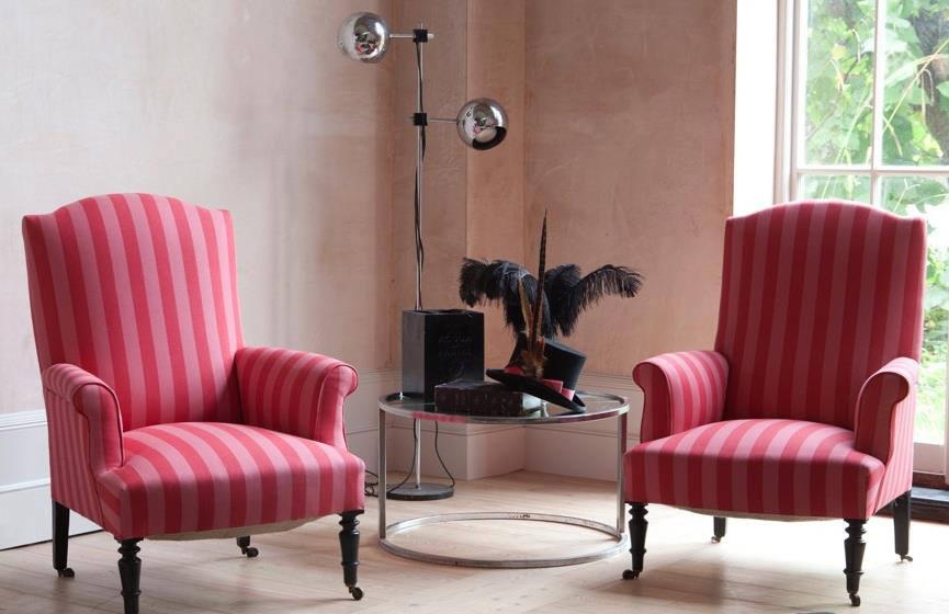 Tienda online telas papel tela de rayas rojas y fresas - Telas para tapizar un sillon ...