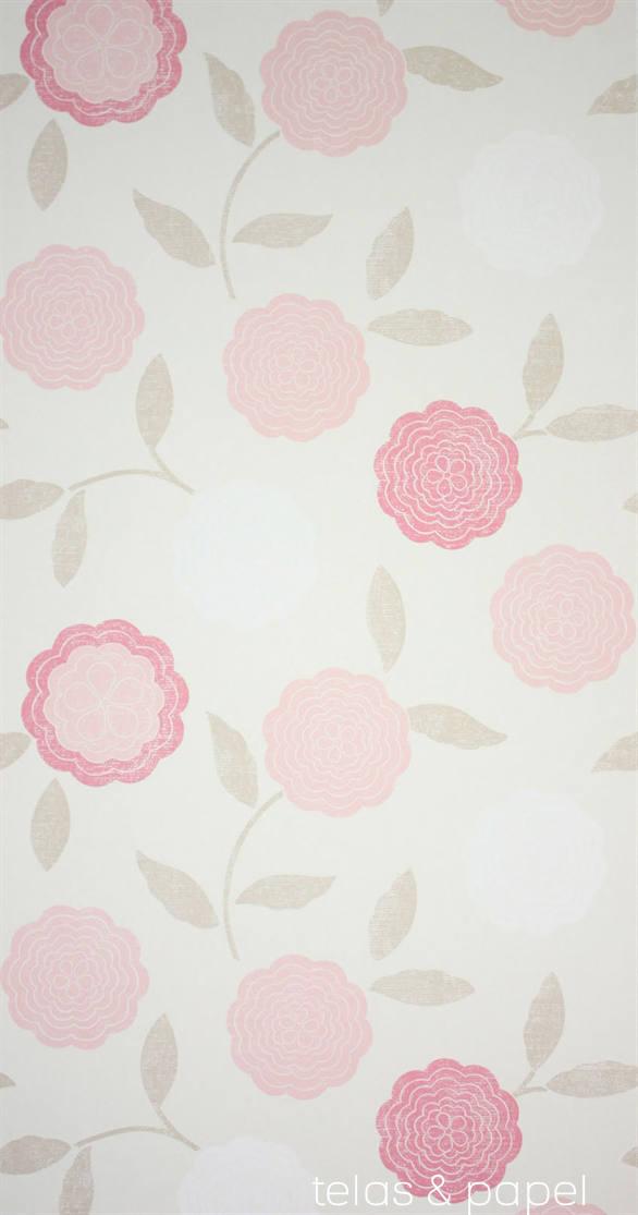 Tienda online telas papel papel pintado flores eranthe rosa - Papel pintado rosa ...