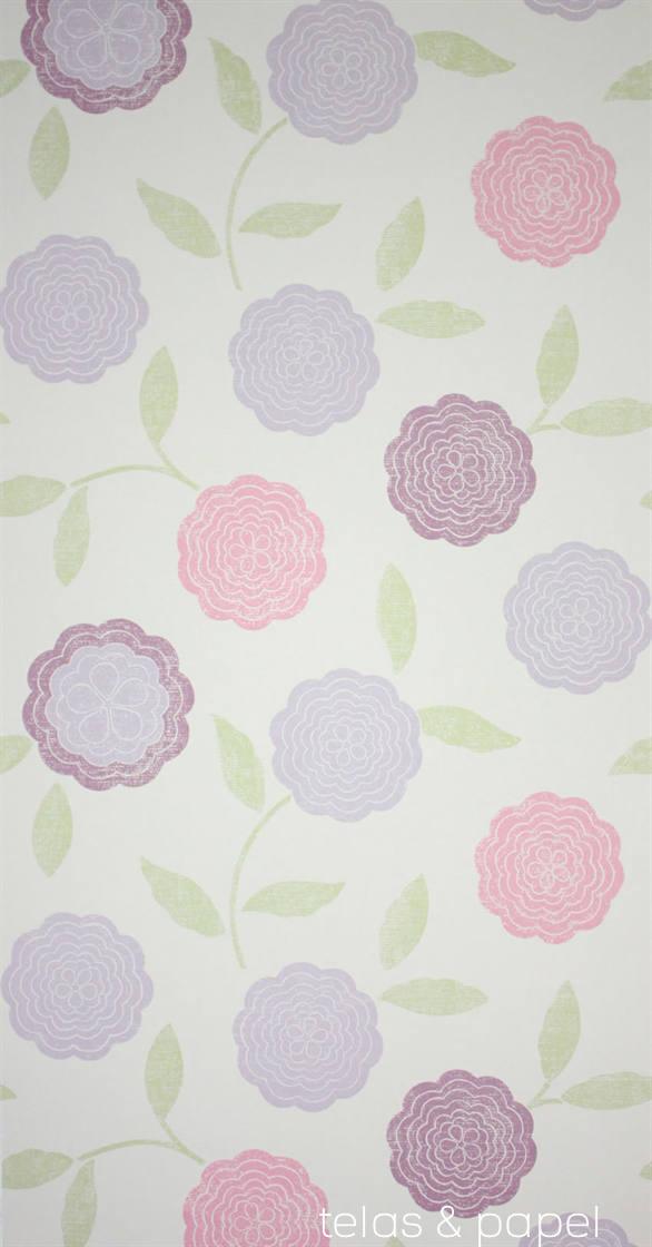tienda online telas papel papel pintado flores eranthe morado