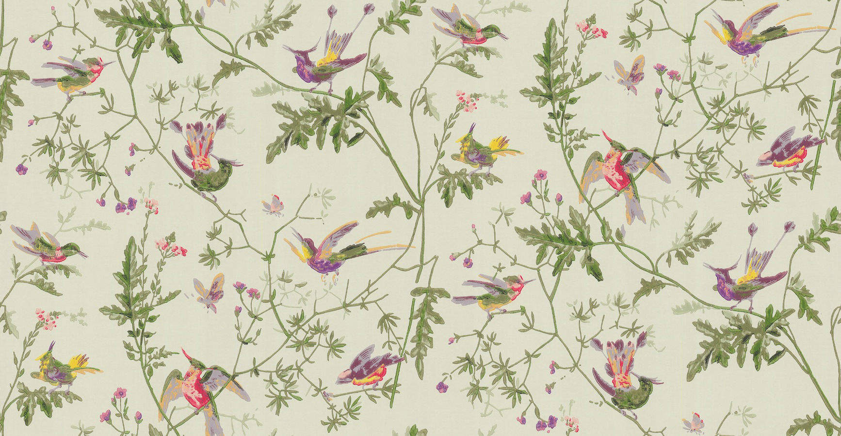 Tienda online telas papel papel pintado colibris verde - Papeles pintados on line ...