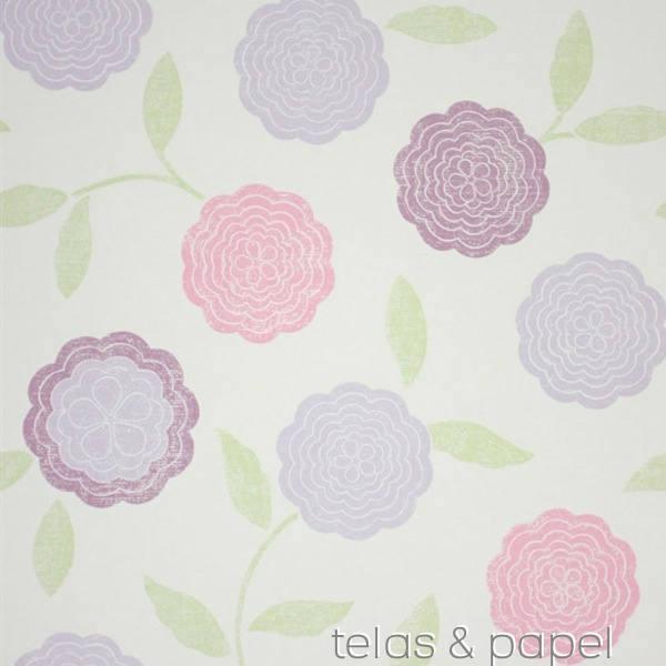 Eranthe papel pintado flores en tonos pastel telas - Papel pintado colores ...