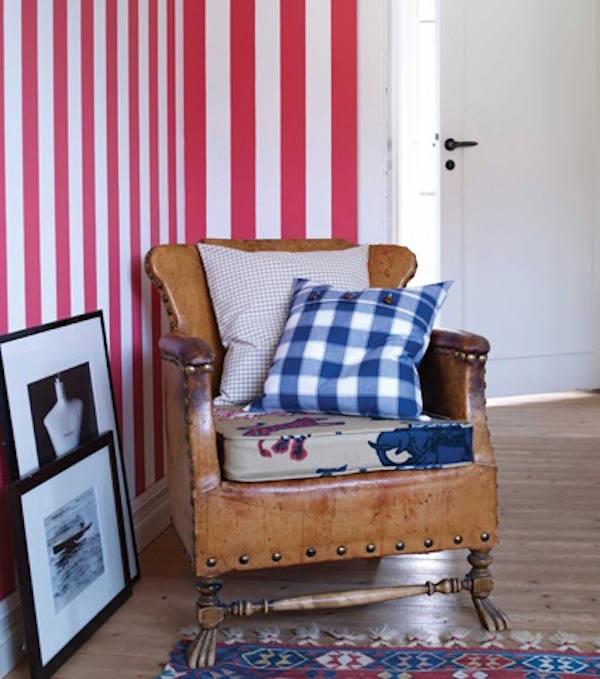 Tienda online telas papel papel pintado rayas william - Habitaciones pintadas con rayas ...