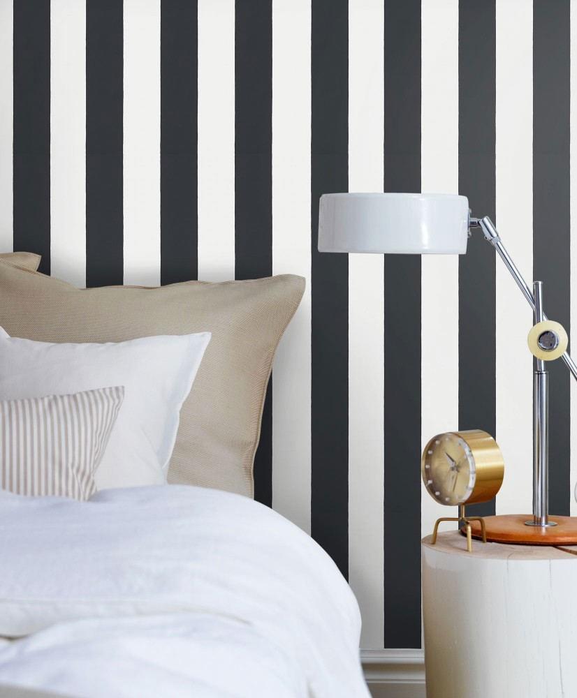 Tienda online telas papel papel pintado rayas william negro - Papel con rayas ...