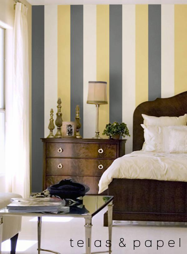 Tienda online telas papel papel pintado rayas una - Paredes pintadas de gris ...