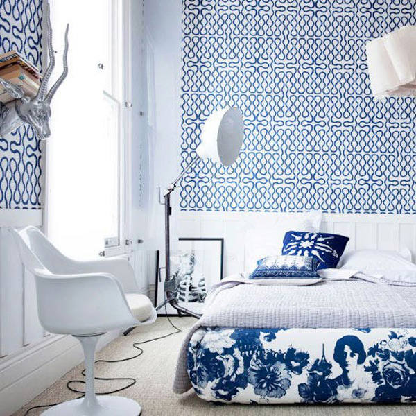 Tienda online telas papel papel pintado vivienne - Dormitorio con papel pintado ...