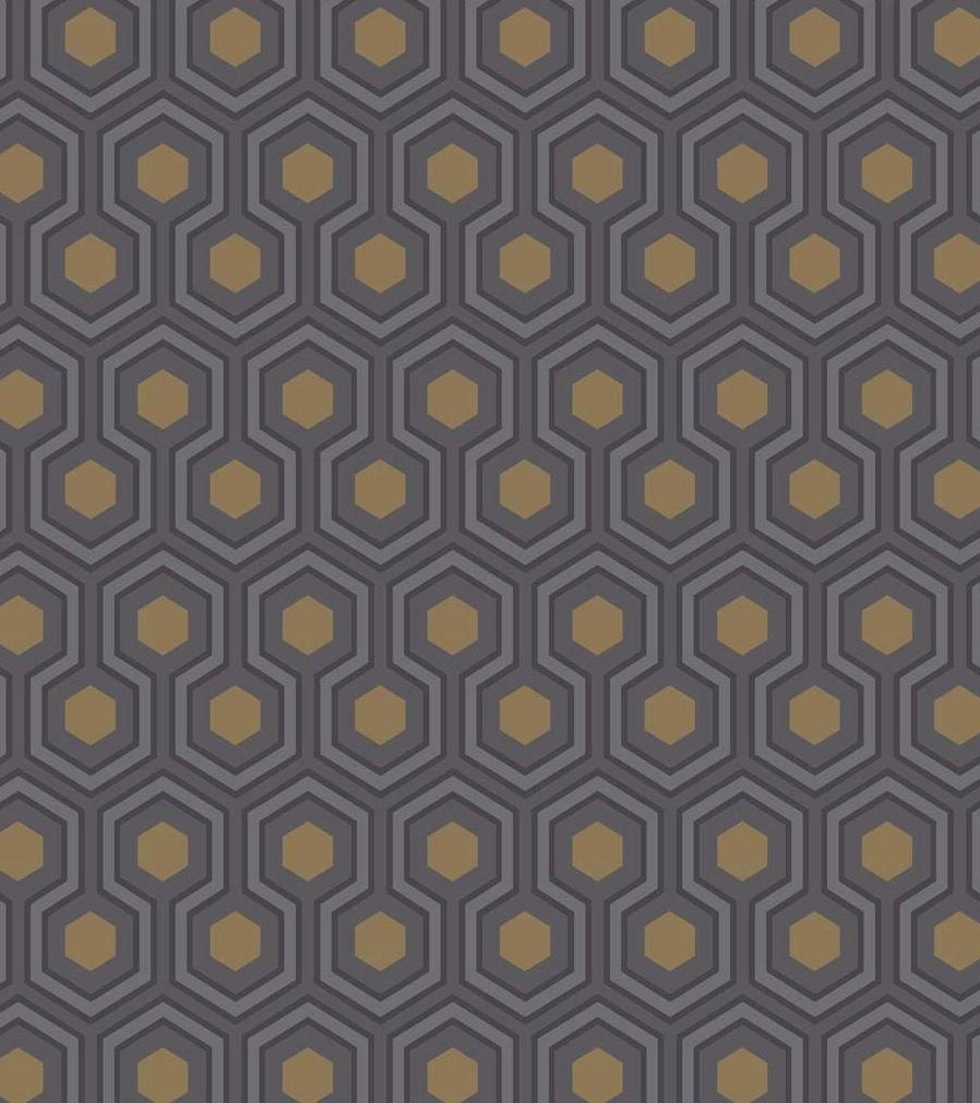 Tienda online telas papel papel pintado hex gonos - Papel pintado dorado ...