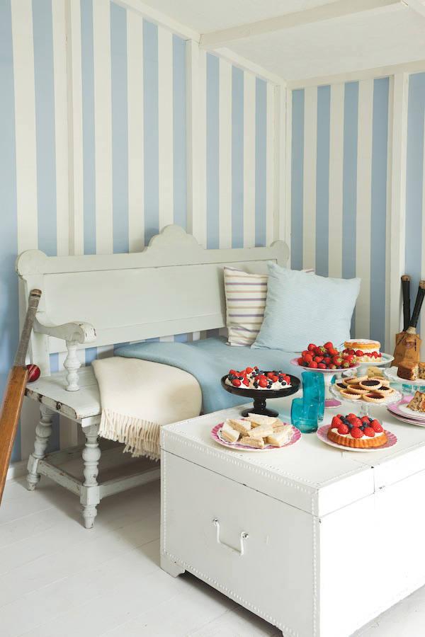Papel pintado rayas anchas glastonbury azul telas papel - Papel para salones ...