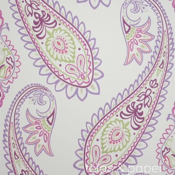 Tienda online telas papel papel pintado nizam morado - Papel pintado morado ...