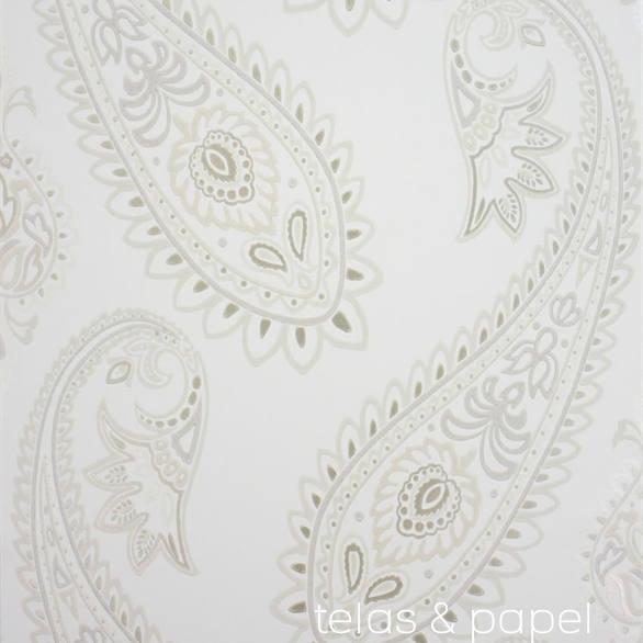 Tienda online telas papel papel pintado nizam beige for Papel pintado azul y plata