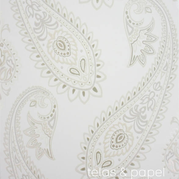 Papel pintado nizam beige telas papel - Papel pintado color plata ...